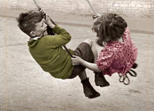 Happy Anniversary children on swing