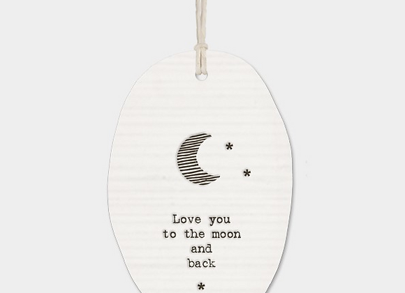 To the moon and back - Porcelain oval plaque