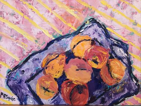 Painting 47 (17x21 framed) Oil _Peach Party_.JPG