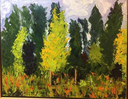 Painting 30 (17 1_2 x 21 1_2 framed) Oil (Barcelona) _Waving Trees_ .jpg