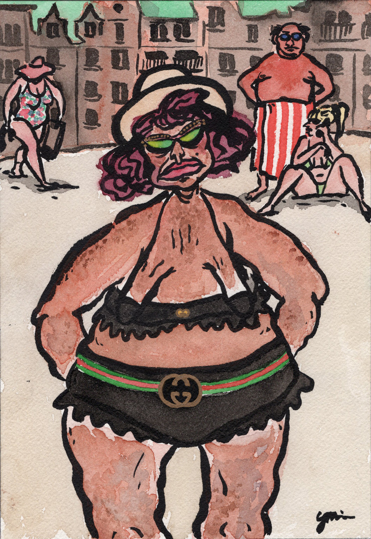 Woman in a Gucci Swimsuit