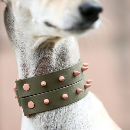 Olive Spike Duo Collar