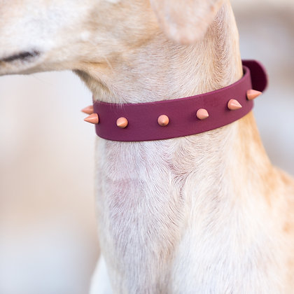 Burgundy Spike collar