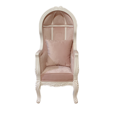 Kids Velvet Pink Throne Chair