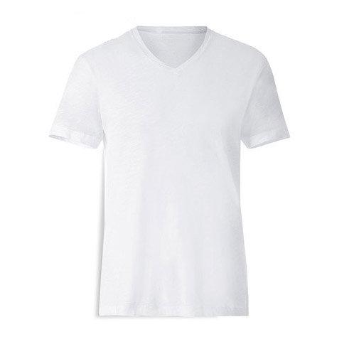 T-Shirt de homem branca com decote em V - ALGODÃO-TOQUE de sublimação