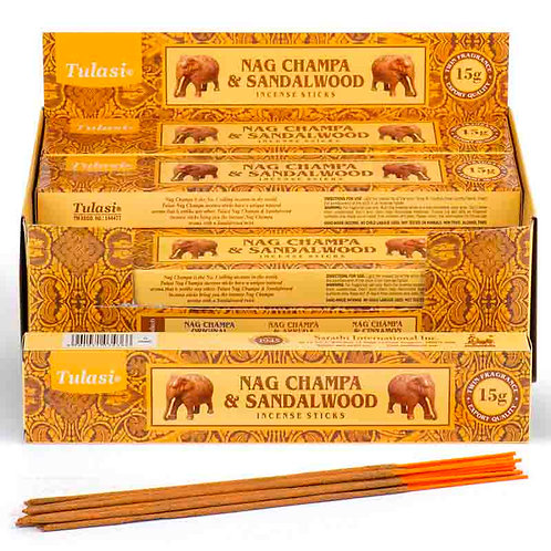 Pack  12 Paus de incenso -NAG CHAMPA & SANDALWOOD
