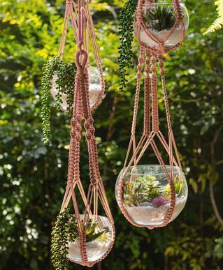 Boho chic Macrame hanging vases