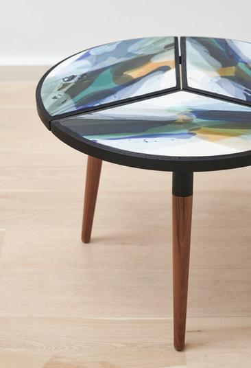 Segmented ceramic side table