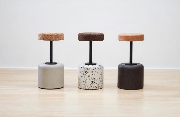 Swivel barstools manufactured from concr