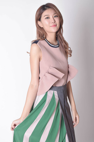 Hnyloe Tied Bow Top in Pink / Yellow