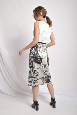 Vertiana Pattern-Print Silk Skirt