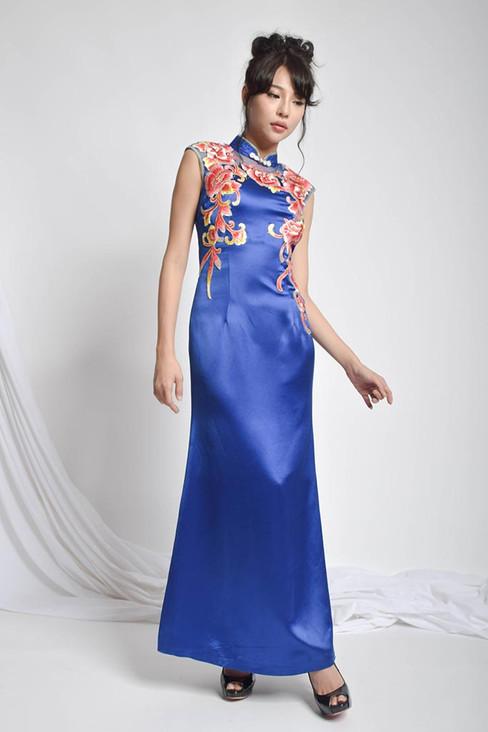 Quijla Embroidered Cheongsam Silk Gown