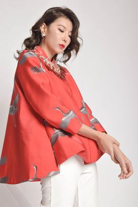Yvesra Mandarin Collar Crop Jacket