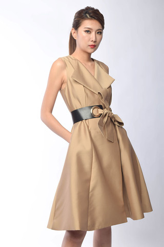 Octavia Double Breasted Dress in Khaki / Black