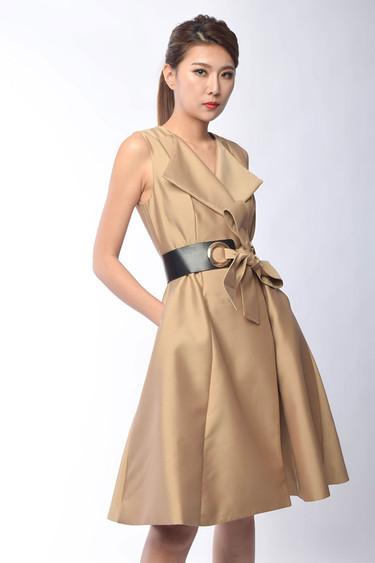 Octavia Double Breasted Dress in Khaki / Black