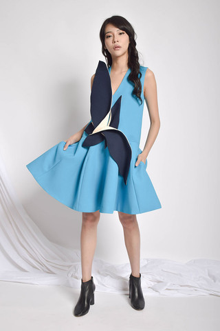 Chser A-Line Dress in Blue / Yellow