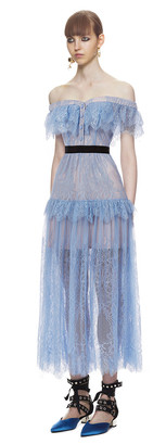 Griande Lace Off-the-Shoulder Midi Dress