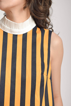 Chjoy Striped Frilled Dress