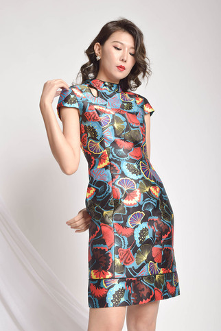 Hesley Printed Cap Sleeves Cheongsam