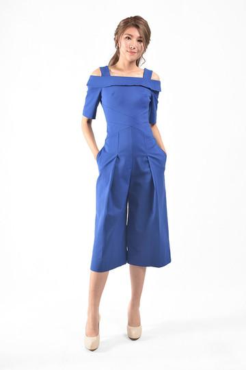 Cajsa Cold Shoulder Jumpsuits in Blue / White