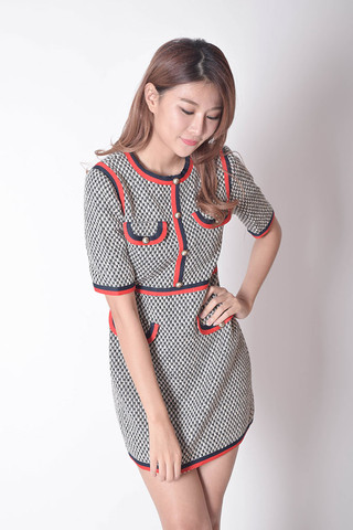 Fulvia Sleeves Dress in Grey / Ivory