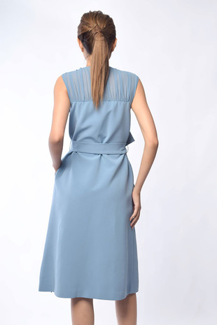Deirdre Sleeveless Midi Dress in Blue / Black