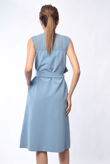Deirdre Sleeveless Midi Dress in Blue / Black