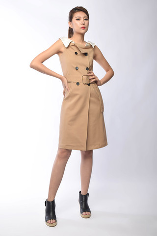 Belva Belted Asymmetrical Dress in Khaki / Black