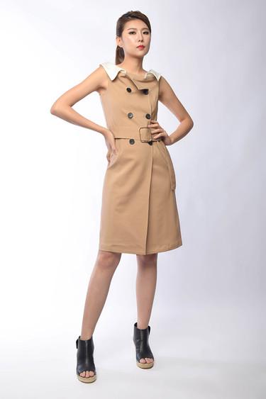 Belva Belted Asymmetrical Dress in Khaki / Black