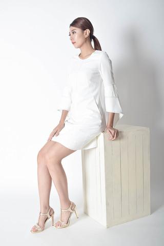 Yves Midi Dress in White & Black
