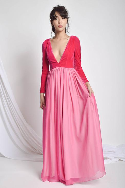 Bulgaty Deep V-Neck Velvet Chiffon Dress