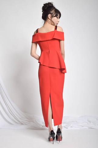 McJiuun Off-the-Shoulder Peplum Dress in Red / Black