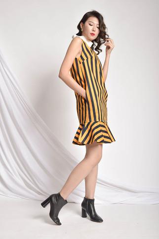 Chjoy Striped Frill Dress