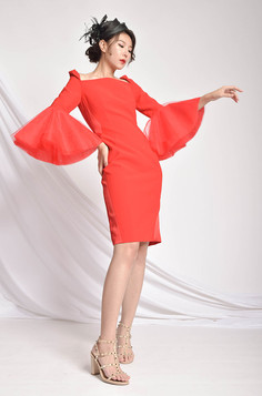 Abelle Bell Sleeved Red Dress