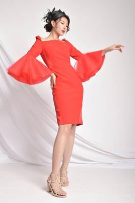 Abelle Bell Sleeved Red Dress