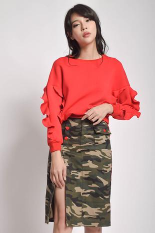 Tara Long Sleeves Top + Pyllo Split Skirt