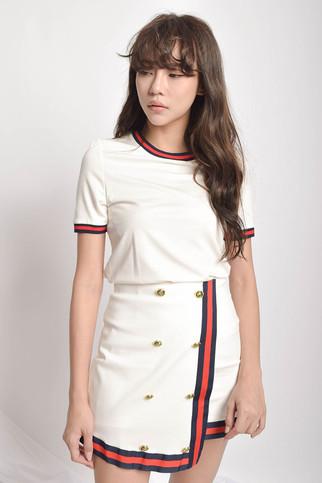 Drelyia Sleeved Top + Mini Skirt Wear in White / Black