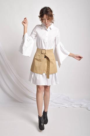 Lepal Bell-Sleeves Asymmetric Dress