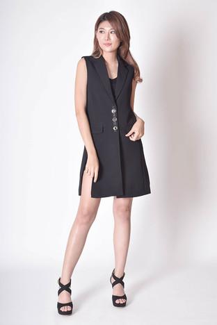 Gjina Split Vest Dress in Black / Brown / White