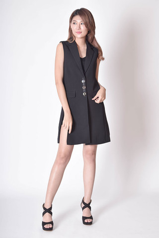 Gjina Split Vest Dress in Black / Brown / White