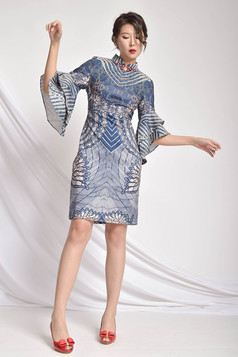 Kingley Printed Frilled Sleeves Dress