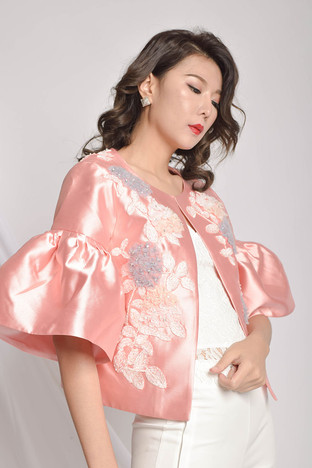 Maby Embroidered Silk Crop Jacket