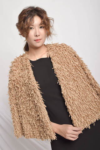 Quincy Cropped Jacket in Brown / Black