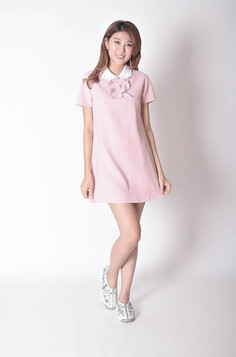 Branco Short Sleeves Dress in Pink / Black