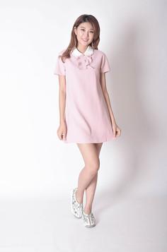 Branco Short Sleeves Dress in Pink / Black