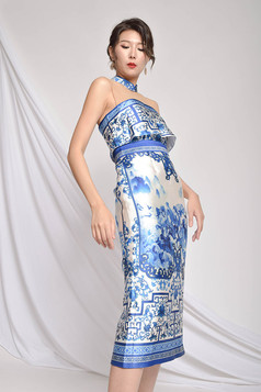 Gslie Printed Silk Dress