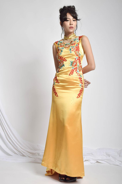 Manfy Embroidered Cheongsam Silk Gown