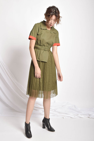 Neina Pleated Olive Green Dress