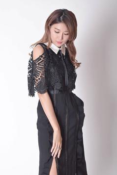 Saffron Cold-Shoulder Dress in Black / Brown
