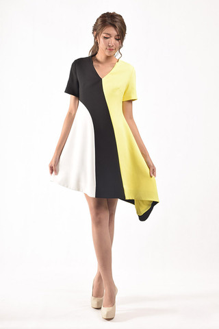 Saniya Sleeves Dress in Yellow / Blue